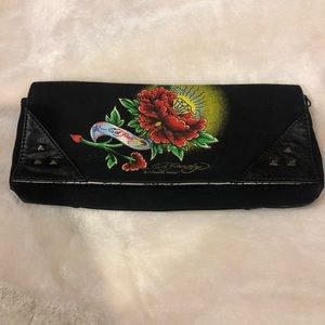 Ed Hardy clutch bag black with red Roses